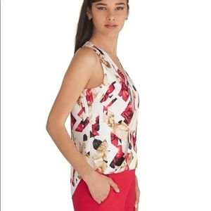 WHBM Silk Stretch Sleeveless FLORAL Small Top